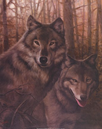 Framed Wolves Pair Print