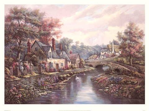 Framed Valley Of The River Beck Print
