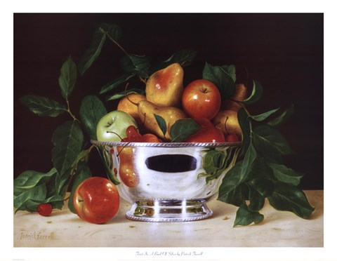 Framed Fruit In a Bowl Of Silver Print