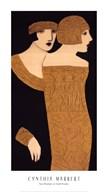 Two Women in Gold Frocks  Fine Art Print