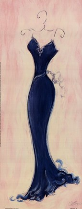 Framed Blue Evening Gown Print