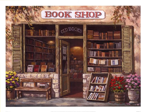 Framed Book Shop Print