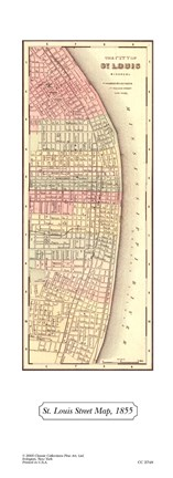 Framed St Louis Street Map, 1855 Print