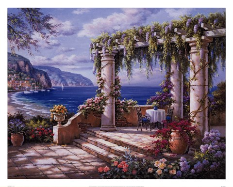 Framed Floral Patio II Print