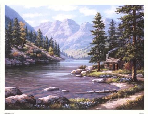 Log cabin retreat fine art print by sung kim at for Log cabin montagne blu
