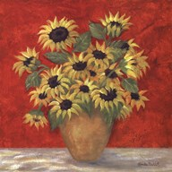 Yellow Sunflowers In French Vase