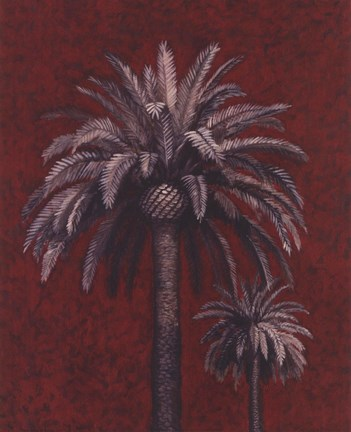 Framed Palm Study On Red Print