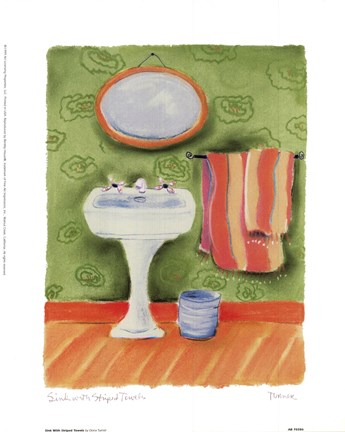 Framed Sink With Striped Towels Print