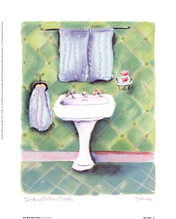 Framed Sink With Blue Towels Print