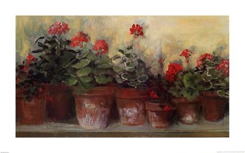 Kathleen S Geraniums Fine Art Print By Carol Rowan At