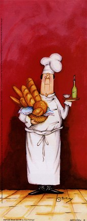 Framed Chef With Bread And Oil Print