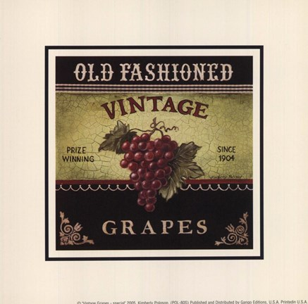 Framed Vintage Grapes - Special Print