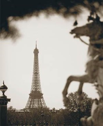 Framed Eiffel Tower Horse Print