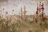 Hollyhocks by the Sea Art