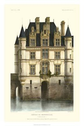 Framed French Chateaux In Blue I Print
