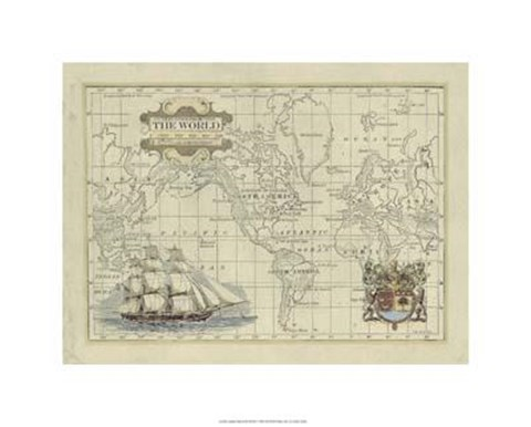 Framed Antique Map Of The World Print