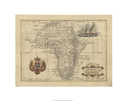 Framed Antique Map Of Africa Print