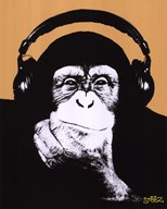 Headphone Monkey  Wall Poster