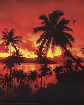 Framed Beach Sunset In Fiji Print