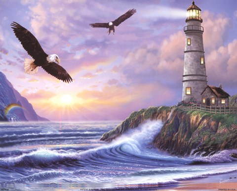 Framed Eagle Lighthouse Print
