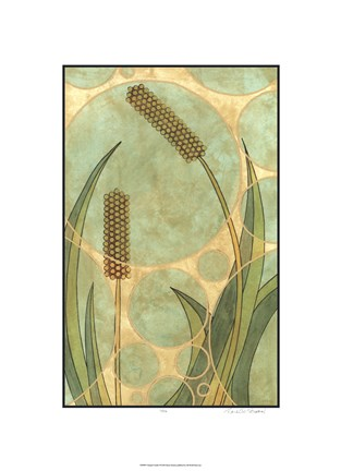 Framed Tranquil Cattails II Print