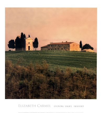 Framed Evening Light, Tuscany Print