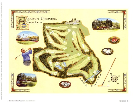 Framed Golf Course Map - Augusta Print