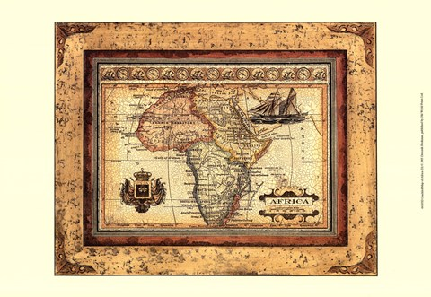 Framed Crackled Map Of Africa Print
