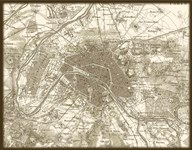 Sepia Map Of Paris Art