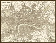 Sepia Map Of London Art