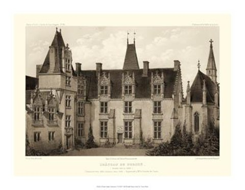 Framed Petite Sepia Chateaux I Print