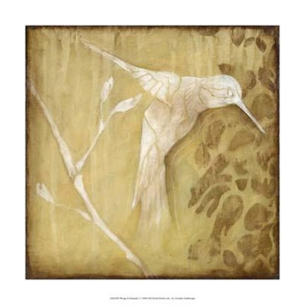 Framed Wings and Damask I Print