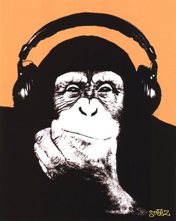 Framed Headphones Monkey Print