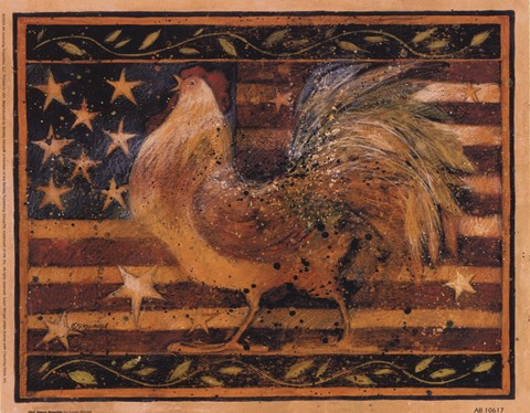 Framed Old Glory Rooster Print