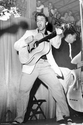 Framed Elvis Presley - Live On Stage 1955 Print
