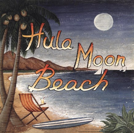 Framed Hula Moon Beach Print