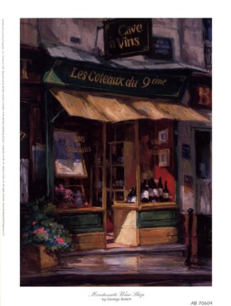 Framed Montmarte Wine Shop Print