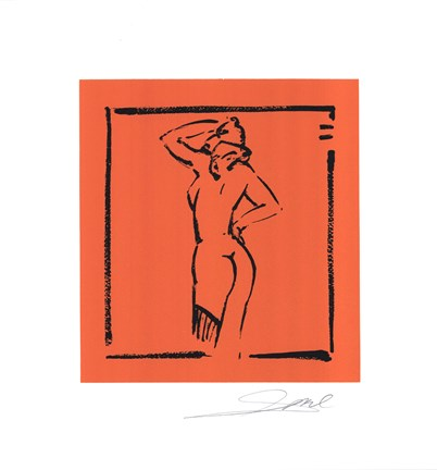 Framed Hot Stuff - Light Orange - hand signed open serigraph Print
