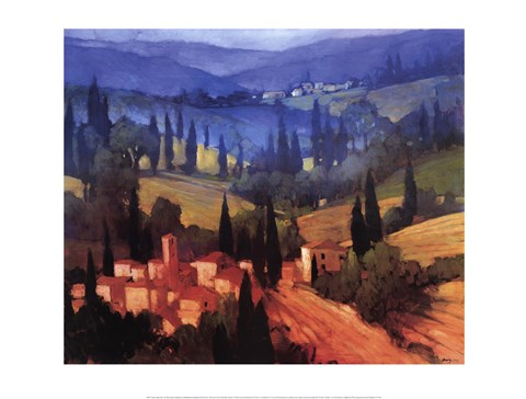 Framed Tuscan Valley View Print