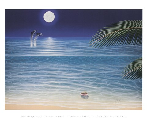 Framed Moonlit Palms Print