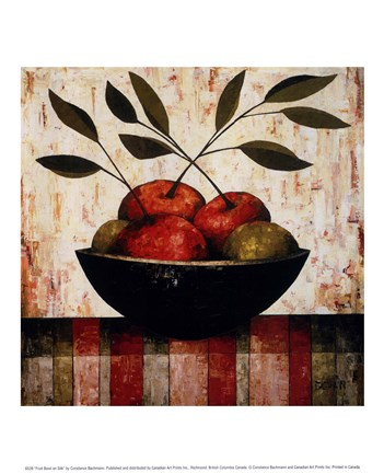 Framed Fruit Bowl on Silk Print