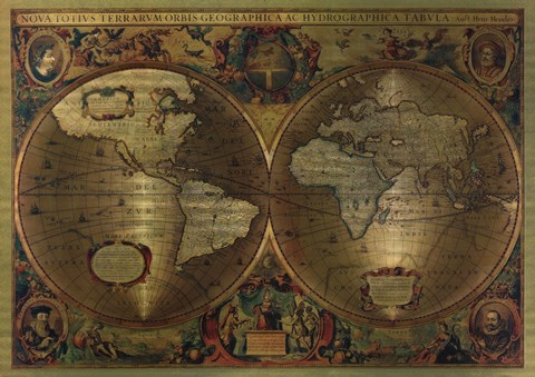 Vintage World Map Metallic Fine Art Print By Unknown At