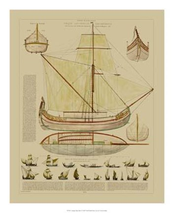 Framed Antique Ship Plan I Print