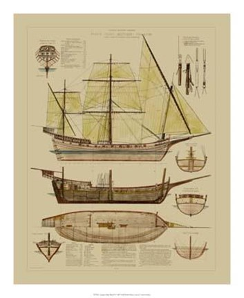 Framed Antique Ship Plan II Print