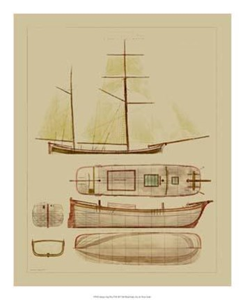 Framed Antique Ship Plan IV Print