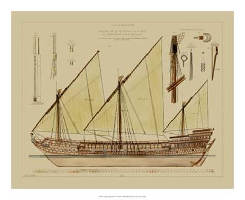 Framed Antique Ship Plan VI Print