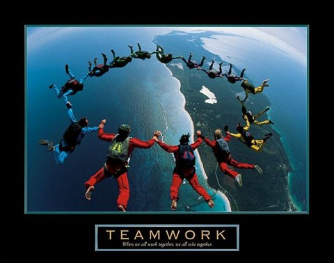 Framed Teamwork – Skydiving Print