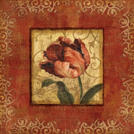 Framed Blooming Red II Print