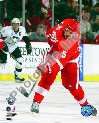 Framed Nicklas Lidstrom Game 1 of the 2008 NHL Stanley Cup Finals Action; #2 Print