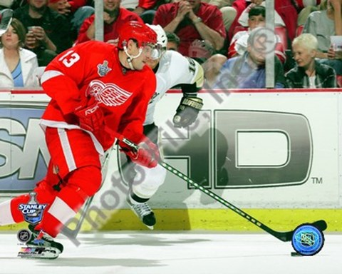 Framed Pavel Datsyuk Game 1 of the 2008 NHL Stanley Cup Finals Action; #3 Print